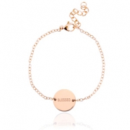 "Roestvrij stalen (RVS) armbandje met quote ""blessed""  stainless steel Rosegold"