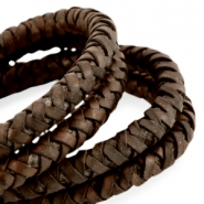 DQ leer 6mm rond gevlochten Dark chocolate brown