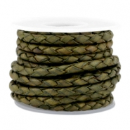 DQ leer 3mm 4 draden rond gevlochten Medium olive green