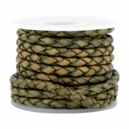 DQ leer 3mm 4 draden rond gevlochten Medium olive green-vintage finish