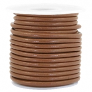 DQ Leer rond 3 mm Chocolate brown