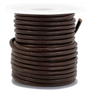 DQ Leer rond 3 mm Dark chocolate brown