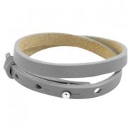 Cuoio armbanden leer 8 mm dubbel voor 12 mm cabochon Greige taupe