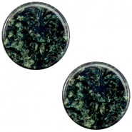 12 mm platte cabochon Polaris Elements Stardust Dark emerald blue zircon