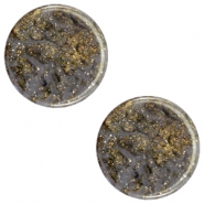 12 mm platte cabochon Polaris Elements Stardust Dark grey