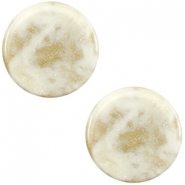 20 mm platte cabochon Polaris Elements Stardust Cream white
