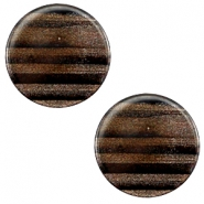 12 mm platte cabochon Polaris Elements Sparkle dust Dark brown