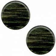 20 mm platte cabochon Polaris Elements Sparkle dust Dark classic green