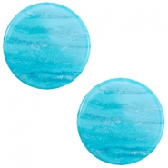 20 mm platte cabochon Polaris Elements Sparkle dust Caribbean blue