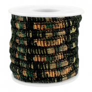 Trendy gestikt koord 6x4mm Multicolor black-copper-dark green