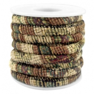 Trendy gestikt koord 6x4mm Multicolor beige-brown-green
