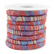 Trendy gestikt koord 6x4mm Multicolor coral red-blue