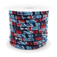 Trendy gestikt koord 4x3mm Multicolor dark blue-red
