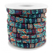 Trendy gestikt koord 6x4mm Multicolor emerald-aubergine-orange