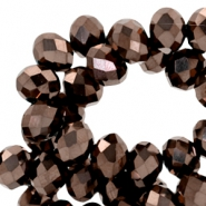 Top Facet kralen 4x3 mm disc Brown metallic