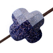 Fashion Facet kralen klaver Midnight blue glitter