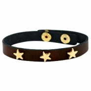 Armbanden met studs gold star Dark chocolate brown