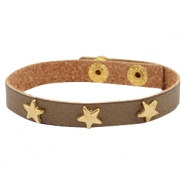 Armbanden met studs gold star Olive brown