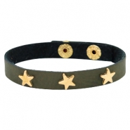 Armbanden met studs gold star Dark moss green
