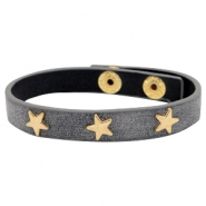 Armbanden met studs gold star Antique anthracite grey