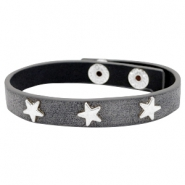 Armbanden met studs silver star Antique anthracite grey