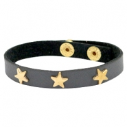 Armbanden met studs gold star Dark graphite grey