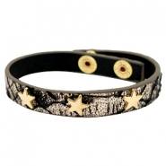 Armbanden reptile met studs gold star Metallic black gold