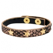 Armbanden reptile met studs gold star Metallic black rose gold