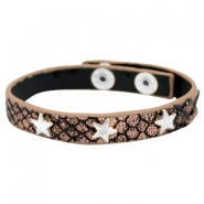 Armbanden reptile met studs silver star Metallic black rose gold
