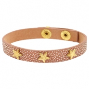 Armbanden reptile met studs gold star Metallic brown rose gold