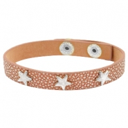 Armbanden reptile met studs silver star Metallic brown rose gold