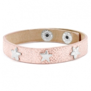 Armbanden reptile met studs silver star Metallic light vintage rose