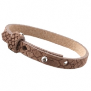 Cuoio armbanden leer Reptile 8 mm voor 12 mm cabochon Classic brown