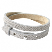 Cuoio armbanden leer Reptile 8 mm dubbel voor 12 mm cabochon Light grey