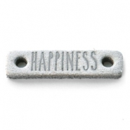 DQ leer tussenstukken HAPPINESS Light grey