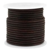 DQ Leer rond 2 mm Vintage auburn brown