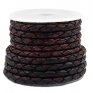 DQ leer 3mm 4 draden rond gevlochten Vintage port royale red