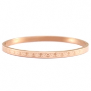 Roestvrij stalen armband (RVS) bloemmotief stainless steel Rosegold