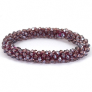 Top facet armband Amethyst-pearl diamond coating