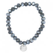 Top facet armbandjes Sisa 8x6mm (RVS bedel) Dark grey opal-pearl diamond coating