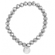 Top facet armbandjes Sisa 8x6mm (RVS bedel) Grey opaque-pearl diamond coating