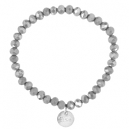 Top facet armbandjes Sisa 6x4mm (RVS bedel) Grey opaque-pearl diamond coating
