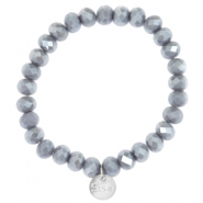 Top facet armbandjes Sisa 8x6mm (RVS bedel) Blue grey-pearl diamond coating