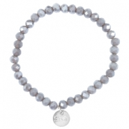 Top facet armbandjes Sisa 6x4mm (RVS bedel) Grey shade topaz-pearl diamond coating
