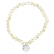 Top facet armbandjes Sisa 6x4mm (RVS bedel) White alabaster-light gold diamond coating