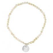 Top facet armbandjes Sisa 4x3mm (RVS bedel) White alabaster-light gold diamond coating