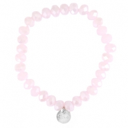 Top facet armbandjes Sisa 8x6mm (RVS bedel) Rose alabaster-pearl diamond coating