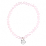 Top facet armbandjes Sisa 6x4mm (RVS bedel) Rose alabaster-pearl diamond coating