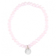 Top facet armbandjes Sisa 4x3mm (RVS bedel) Rose alabaster-pearl diamond coating