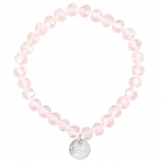 Top facet armbandjes Sisa 8x6mm (RVS bedel) Pink champagne-pearl diamond coating